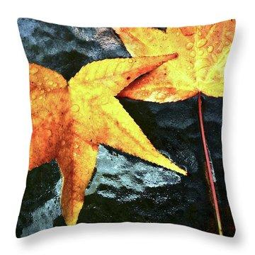 Golden Liquidambar Leaves Throw Pillow