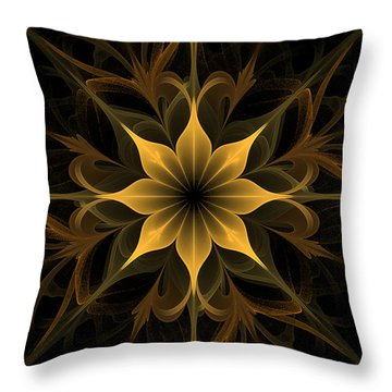 Golden Lotus Swirls Throw Pillow