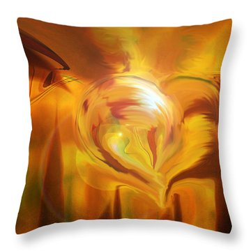 Throw Pillow featuring the digital art Golden Love by Linda Sannuti