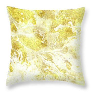 Golden Marble I Gold And White Abstract Art Throw Pillow