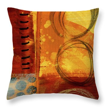 Throw Pillow featuring the painting Golden Marks 10 by Nancy Merkle