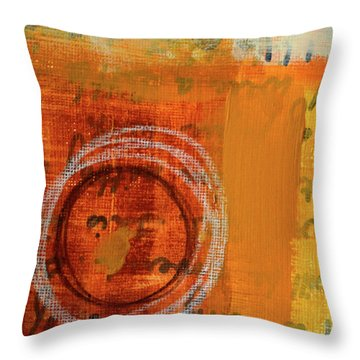 Throw Pillow featuring the painting Golden Marks 11 by Nancy Merkle