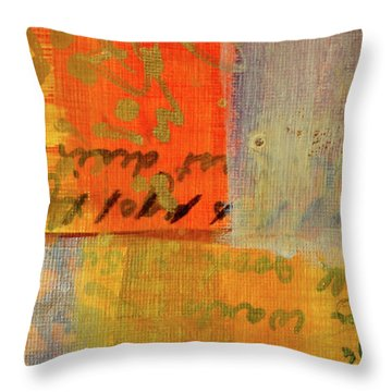 Throw Pillow featuring the painting Golden Marks 12 by Nancy Merkle