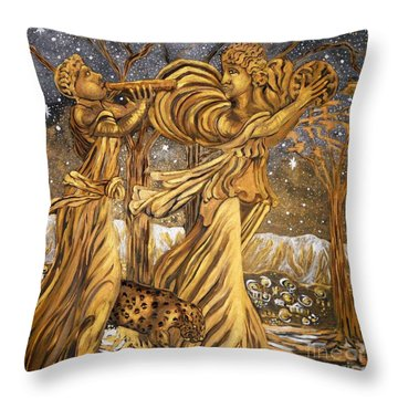 Golden Minstrels. Throw Pillow by Caroline Street