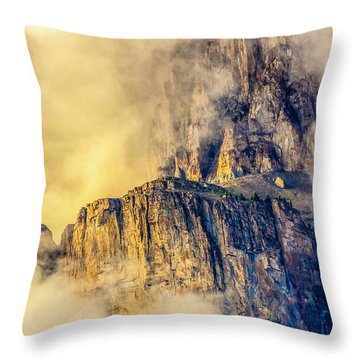 Golden Mist On Cathedral Mountain Throw Pillow