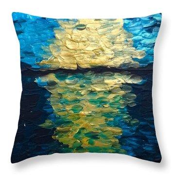Golden Moon Reflection Throw Pillow