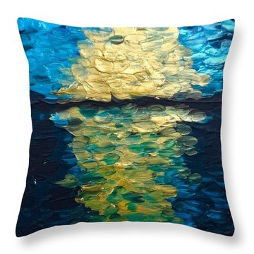 Golden Moon Reflection Throw Pillow