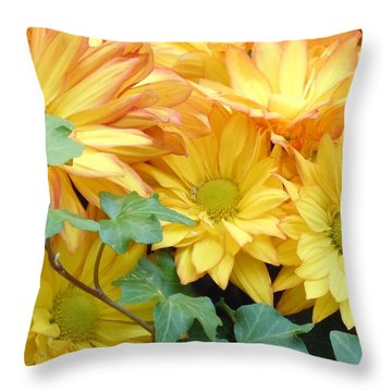 Golden Mums And Ivy Throw Pillow