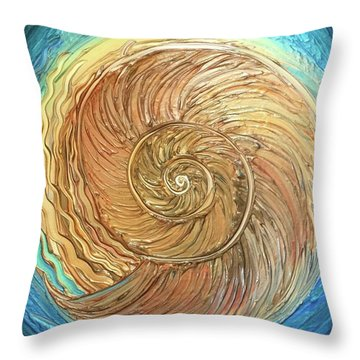 Golden Nautilus Throw Pillow