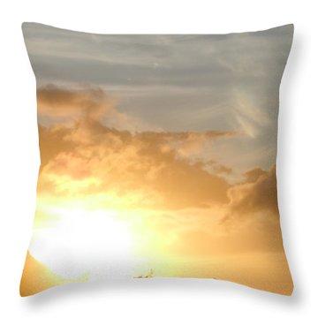 Golden Oahu Sunset Throw Pillow