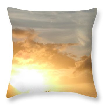 Golden Oahu Sunset Throw Pillow