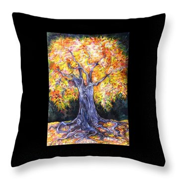 Throw Pillow featuring the drawing Golden Oak by Anna  Duyunova