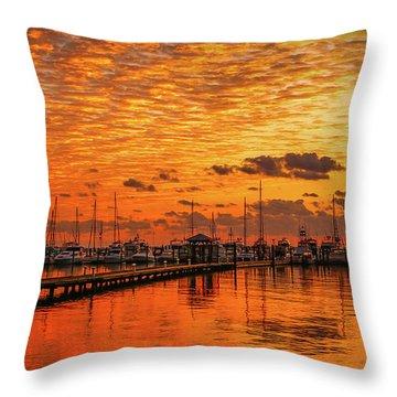 Golden Orange Sunrise Throw Pillow