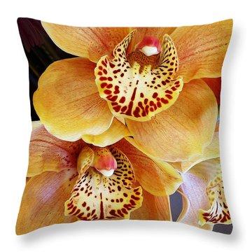 Golden Orchid Throw Pillow