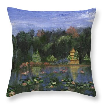Throw Pillow featuring the painting Golden Pagoda by Jamie Frier