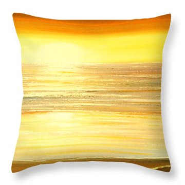 Golden Panoramic Sunset Throw Pillow by Gina De Gorna