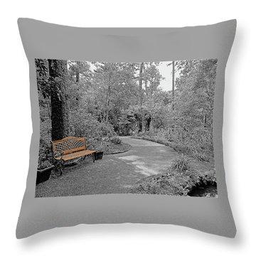 Golden Park Bench Along The Gardens Walkway Throw Pillow