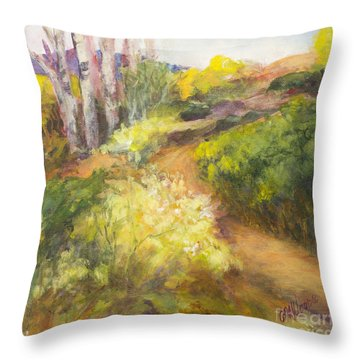 Golden Pathway Throw Pillow by Glory Wood