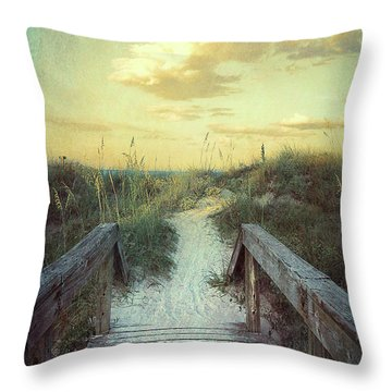 Golden Pathway Throw Pillow by Linda Olsen