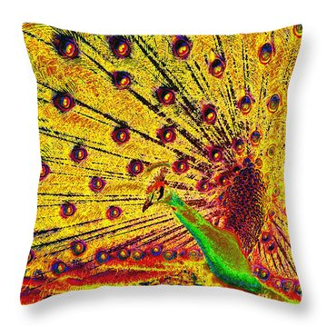 Golden Peacock Throw Pillow by David Lee Thompson