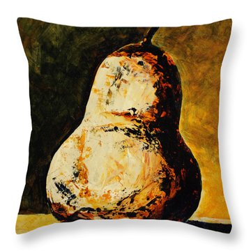 Golden Pear Throw Pillow by Cindy Johnston