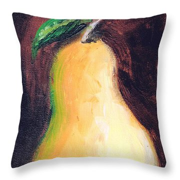 Throw Pillow featuring the painting Golden Pear.. by Jolanta Anna Karolska