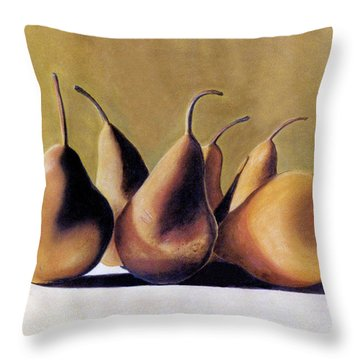 Throw Pillow featuring the pastel Golden Pears 2 by Jan Amiss