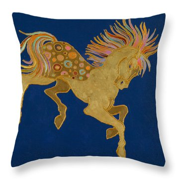 Throw Pillow featuring the painting Golden Pegasus by Bob Coonts
