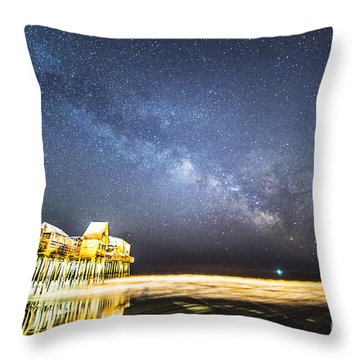 Golden Pier Under The Milky Way Version 1.0 Throw Pillow