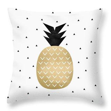Golden Pineapple Throw Pillow