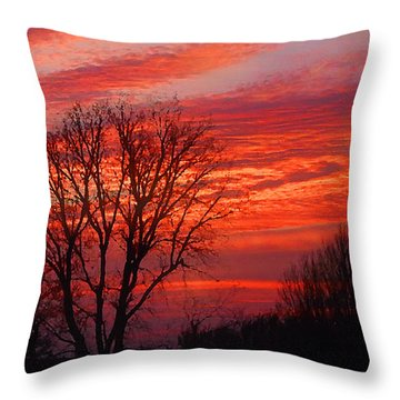 Golden Pink Sunset With Trees Throw Pillow