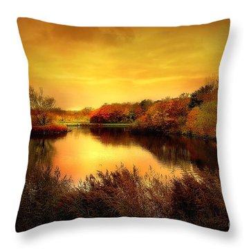 Golden Pond Throw Pillow by Jacky Gerritsen
