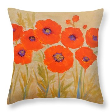 Magical Poppies Throw Pillow