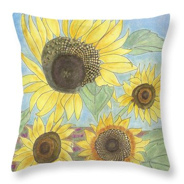 Throw Pillow featuring the drawing Golden Quartet by Arlene Crafton