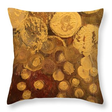 Golden Rain Abstract Throw Pillow by Kristen Abrahamson