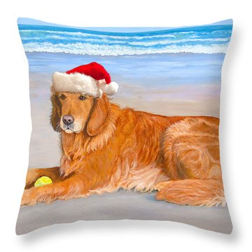 Throw Pillow featuring the painting Golden Retreiver Holiday Card by Karen Zuk Rosenblatt