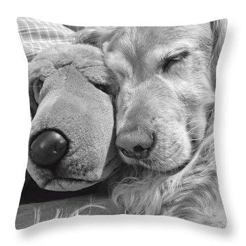 Golden Retriever Dog And Friend Throw Pillow by Jennie Marie Schell