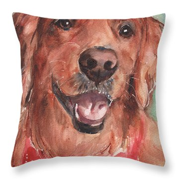 Golden Retriever Dog In Watercolori Throw Pillow