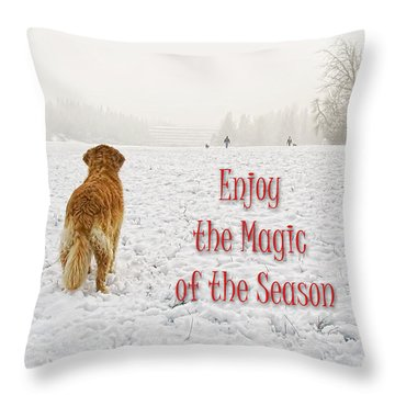 Golden Retriever Dog Magic Of The Season Throw Pillow by Jennie Marie Schell