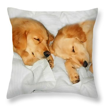 Golden Retriever Dog Puppies Sleeping Throw Pillow