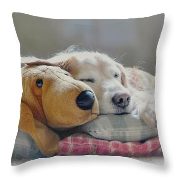 Golden Retriever Dog Sleeping With My Friend Throw Pillow