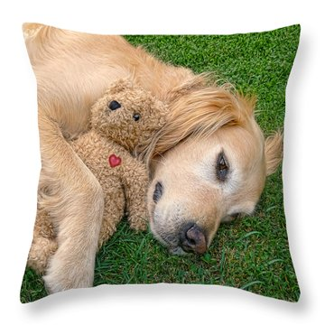 Golden Retriever Dog Teddy Bear Love Throw Pillow by Jennie Marie Schell