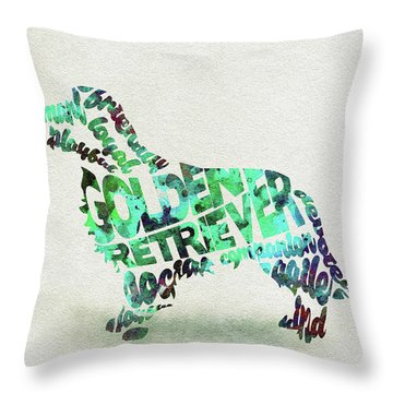 Throw Pillow featuring the painting Golden Retriever Dog Watercolor Painting / Typographic Art by Ayse and Deniz