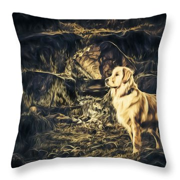 Golden Retriever - Painted - Did Someone Say Treat? Throw Pillow
