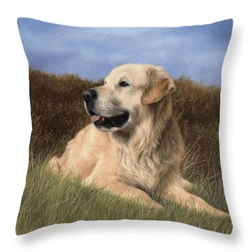 Golden Retriever Painting Throw Pillow