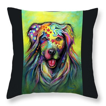 Golden Retriever Throw Pillow by Patricia Lintner