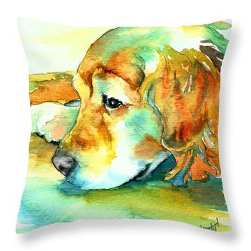 Throw Pillow featuring the painting Golden Retriever Profile by Christy  Freeman