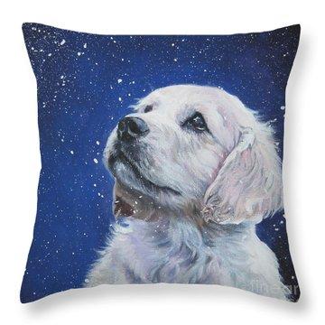 Golden Retriever Pup In Snow Throw Pillow by Lee Ann Shepard