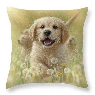 Golden Retriever Puppy - Dandelions Throw Pillow
