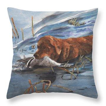 Golden Retriever With Duck Throw Pillow